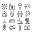 Energy line icons vector image vector image