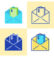 envelope with money icon set in flat and line vector image