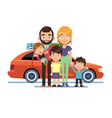 family car happy young parents father mother kids vector image