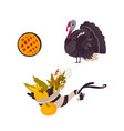 farm hen turkey pumpkin pie and cornucopia vector image vector image