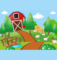 farm scene with sheeps in the field vector image