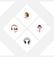 flat icon hotline set of help headphone vector image vector image