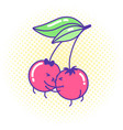 funny cherry couple in love kawaii style kissing vector image vector image