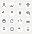 garden icons set with garden gloves wheat apple vector image