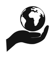 Globe in hand simple icon vector image