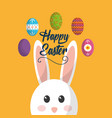happy easter face bunny animal cute eggs vector image