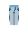 high waist jeans pants filled color outline vector image vector image
