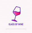 inclined glass of wine thin line icon vector image vector image