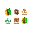 Isolated abstract coffee bean logo set Eco vector image vector image