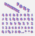 isometric alphabet typerface characters symbols vector image vector image