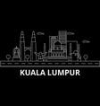 kuala lumpur silhouette skyline malaysia - kuala vector image