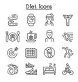 losing weight diet exercise icon set in thin line vector image vector image