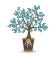 money tree isolated object on white vector image vector image