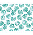 monstera blue pattern vector image vector image