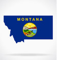 montana mt map with state flag vector image