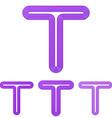 Purple t letter logo design set vector image vector image