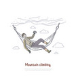 rock climbing mountaineering climber resting vector image vector image