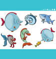sea life fish characters collection vector image