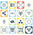 set of 16 artificial intelligence icons includes vector image vector image