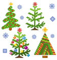 Set of Christmas Trees with mosaic structure vector image vector image