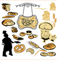 Set of different bakery vector image