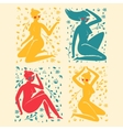 Set of elegant femininity woman silhouettes with vector image
