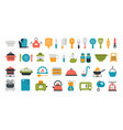 set of kitchen tools flat icons cooking and vector image
