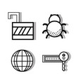 set padlock and global with key and spider vector image vector image