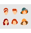 Set Woman Hair Style Silhouettes vector image vector image