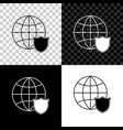 shield with world globe icon isolated on black vector image vector image