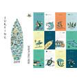 surf school calendar 2019 design vector image