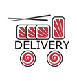 sushi delivery logo vector image vector image