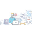 technical support - modern line design style vector image