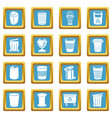 trash can icons set sapphirine square vector image vector image