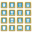 trash can icons set sapphirine square vector image