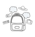 travel bag with tourism icons vector image vector image