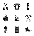 Vacation in forest icons set simple style