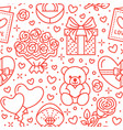 valentines day pink seamless pattern love vector image vector image