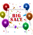 white sale sign over colorful balloons background vector image