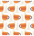winter tea cups decoration seamless pattern vector image vector image
