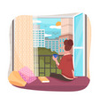 woman drinking coffee looking out window vector image vector image