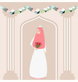 woman girl muslim bride holding flower wearing vector image vector image