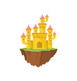 yellow island castle on white background magic vector image vector image