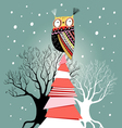 Christmas card with an owl on the tree vector image