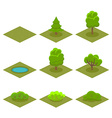 Set of Trees and Bushes Isometric Style for Game vector image