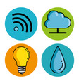 set of smart home tecnology system icons vector image
