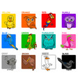 basic colors cartoon educational set with birds vector image vector image