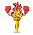 boxing torch character cartoon style vector image vector image