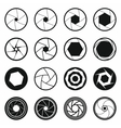 Camera shutter icons set black simple style vector image vector image