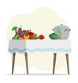 cartoon hand drawn vegetables and pot on table vector image vector image